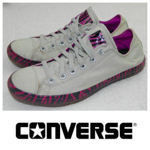 CONVERSE Sz. 9 SNEAKERS Purple White ZEBRA PRINT